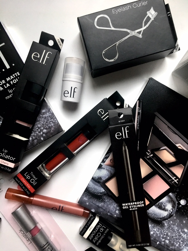 bundle of elf products purchased online by blush suede elf beauty